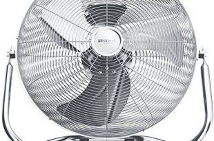 Brandson Windmaschine Retro Stil Ventilator in Chrom 310x205 - Brandson - Windmaschine Retro Stil - Ventilator in Chrom - Standventilator 30cm - Bodenventilator - hoher Luftdurchsatz - robuster Stand - stufenlos neigbarer Ventilatorkopf - silber